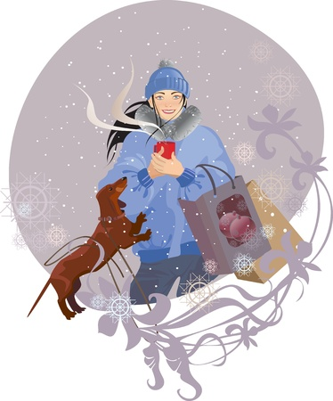 girl with a cup of coffee in the winter Vector