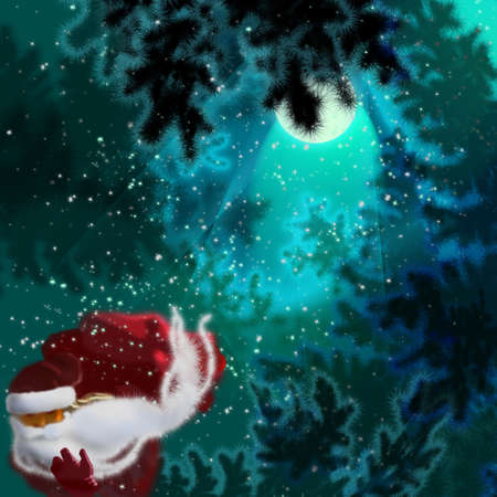 Cristmas, sunta claus in forest photo