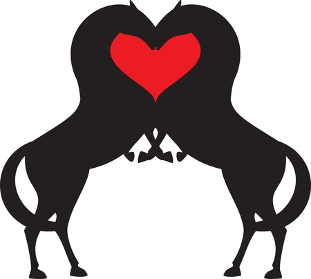 black horses: horse red heart