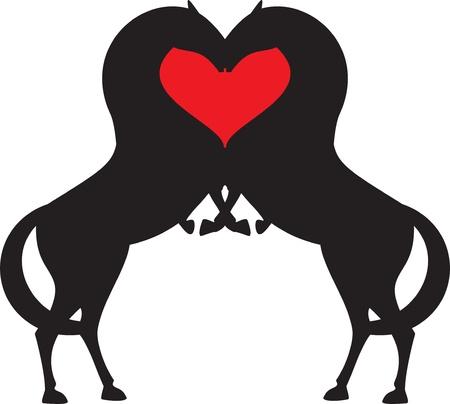 springpaard: paard rood hart Stock Illustratie