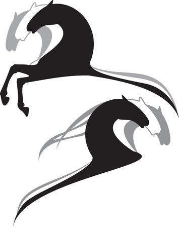 caballo caricatura: caballos negro, dibujos blanco, gris