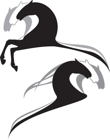 horses black, white, grey cartoon Vector