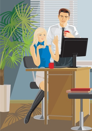office work man and woman Vector