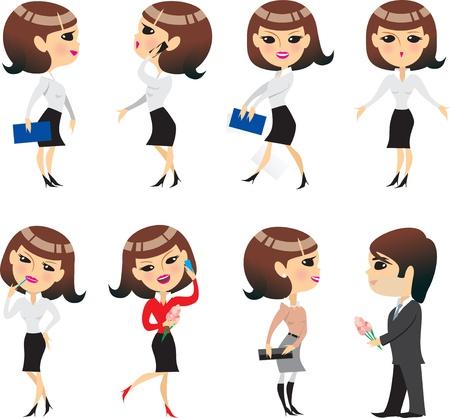 caricaturas de personas: la vida de oficina, muchacha de la oficina