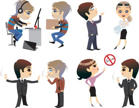smoking: people cartoon office life