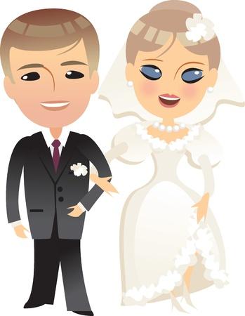 Hochzeit Braut und Bräutigam-Karikatur