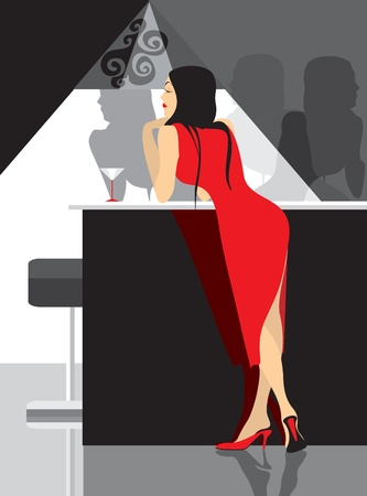 lady in red party in club Stock Vector - 12084338