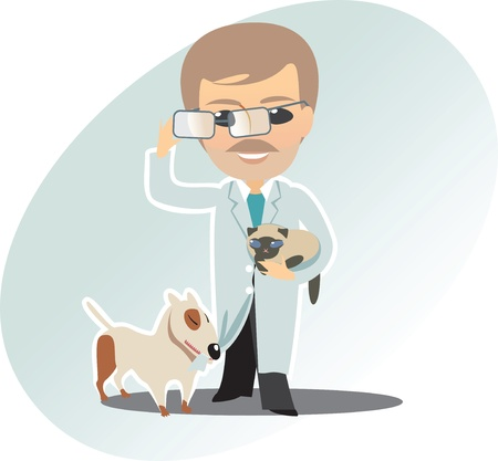 Veterinary man cat and dog