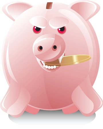 greedy little pig with  coin Stock Vector - 12353599