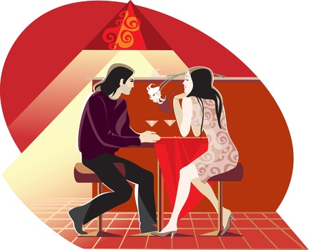 con: red evening cafe man woman