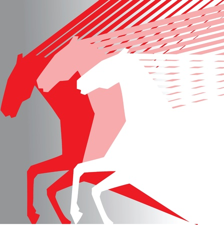 pink horses on grey baclground Vector