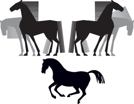 horse silhouette blacl and grey Vector