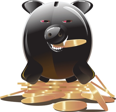 evil greedy black piggy bank Stock Vector - 12353607