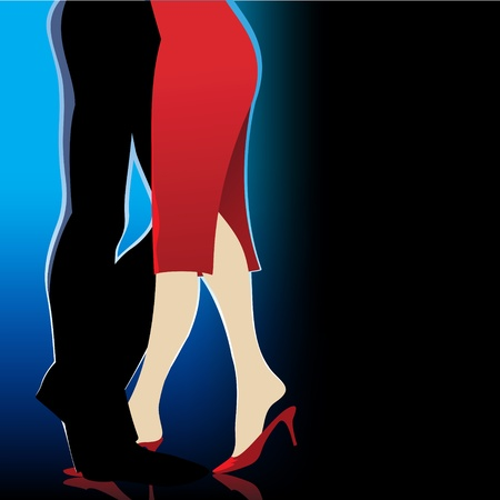 red shoes: dancing night party man woman Illustration