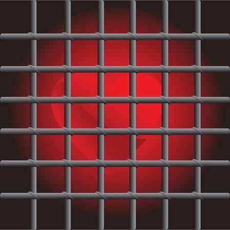 incarceration: red heart in captivity prison