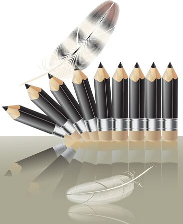 dominoes: delicate balance black  shiny pencils Illustration