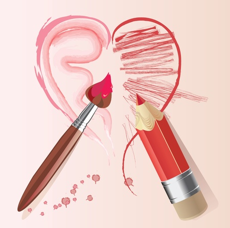 love story heart brush and pencil Vector