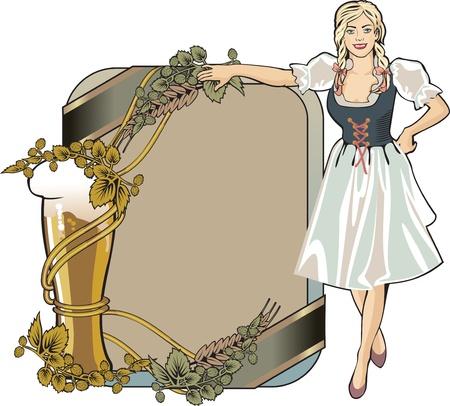waitresses: design beer festival label color Illustration