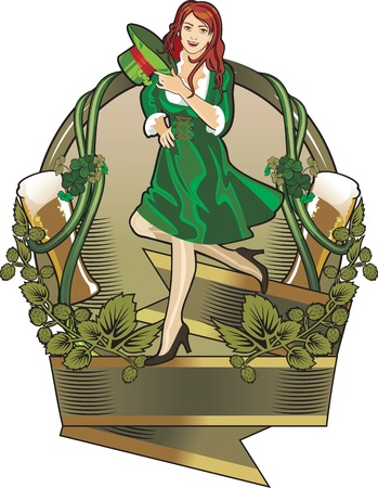 st. Patrick day girl  label Stock Vector - 12353658