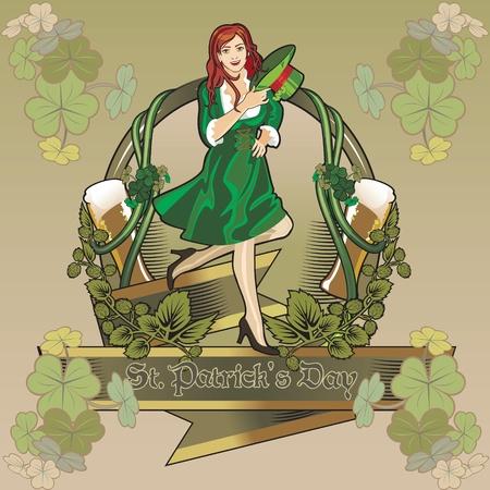 st. Patrick day girl  label Stock Vector - 12353659