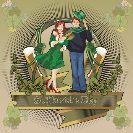 st. Patrick day girl  label Vector