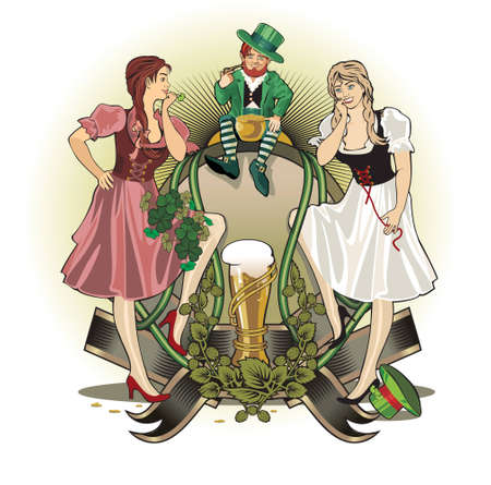 st.Patrick day girls and gnome Stock Photo - 12353673
