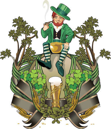 red clover: leprechaun gnome  st. Patrick day
