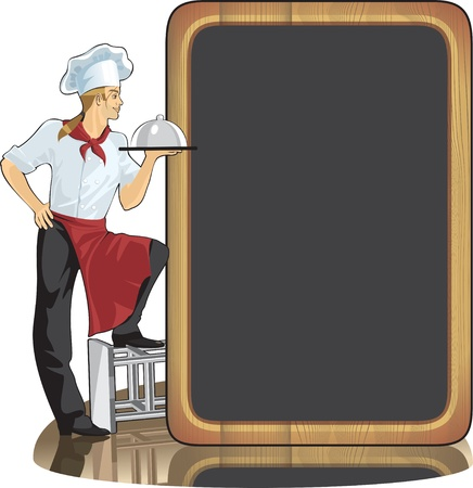 menu background: man cook and menu background