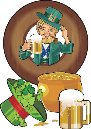 march 17: st Patricks day gnom in wooden ftame Illustration