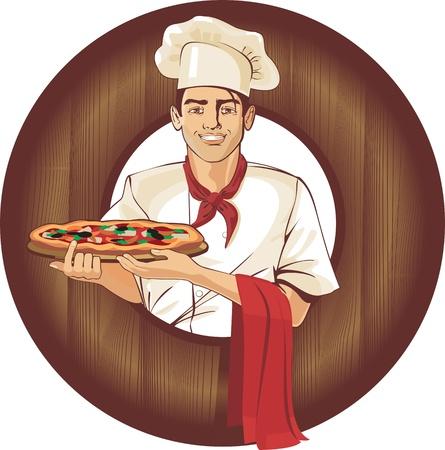 serveur avec plateau: Italian Pizza cuisinier, brune personne oriental Illustration