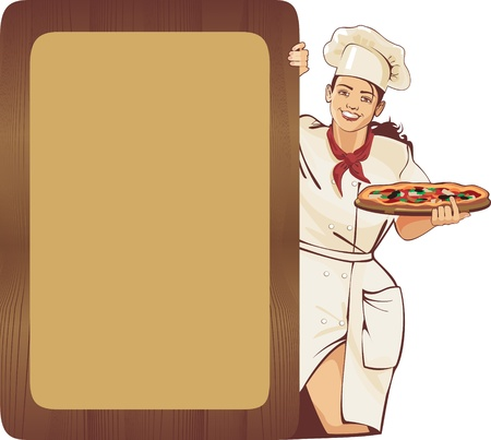italian waitress and pizza menu wooden frame Vector