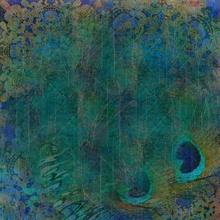 pluma de pavo real: fondo ex�tico de plumas de color verde oscuro y el pavo real Foto de archivo