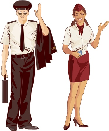 mulatto: flight attendant and pilot in uniform Illustration