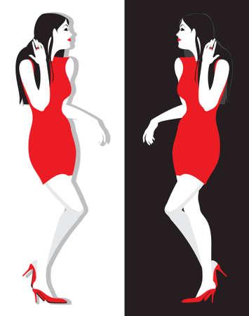 short skirt: brunette girl in red dress