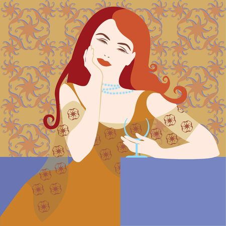 redhair: red hair girl on pattern background Illustration