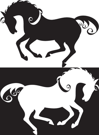 horses silhouette, simbol Vector
