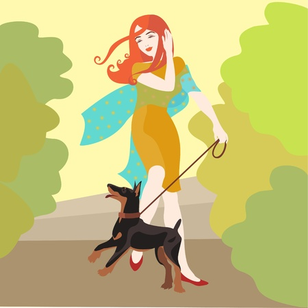 girl with dog walking Illustration