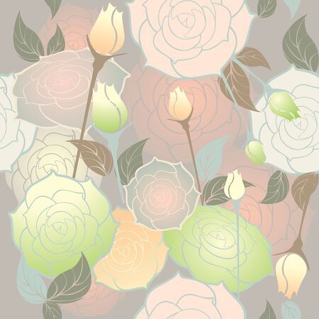 roses seamless pattern pastel color Vector