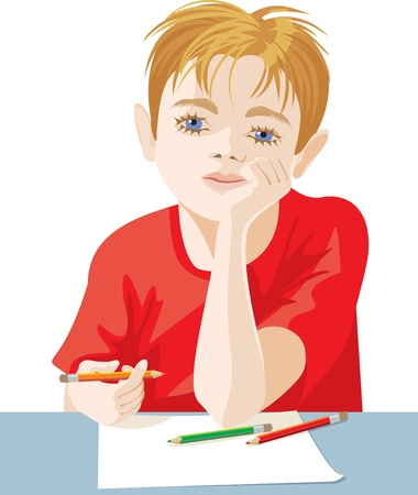 blonde blue eyes: drawing a child sitting at the table