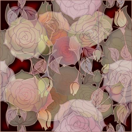 floral design pattern roses, bud pink on dark background