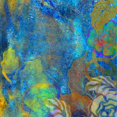 floral design blue exotic background