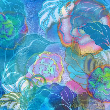gradation art: tropic blue and pink floral design Stock Photo