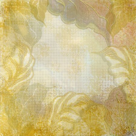 yellow leaves on beige background