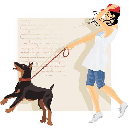 girl walking with a puppy Illustration