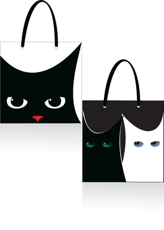 bag cat, design element on black and white background