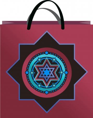 lilac bag with  ornament David stars Vector