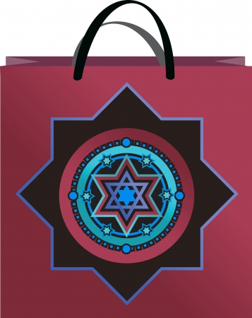 lilac bag with  ornament David stars Vector