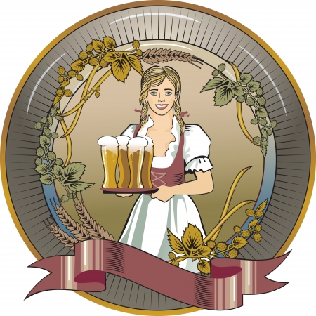 girl blond beer waitress, label Vector