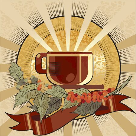 cup of coffee label colored Vector