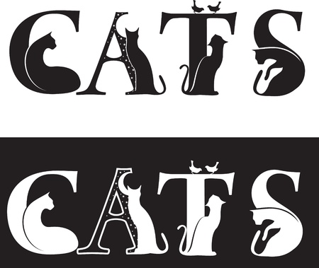 cats-letters, black and white silhouette  Vector